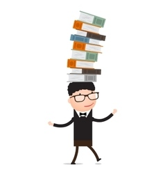 Boy playing with books vector