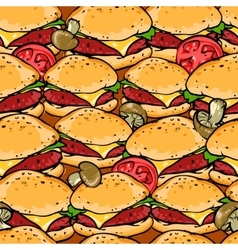 Burger seamless pattern vector image