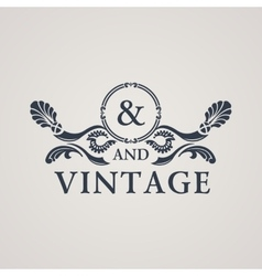 Calligraphic Vintage emblem Floral art vector