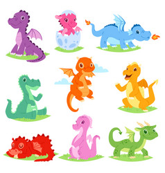 Cartoon dragon cute dragonfly or baby vector