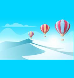 cartoon ice landscape air balloon vector image