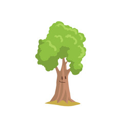 Cartoon park tree with smiling face expression vector