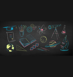 chalk drawn set science objects vector image