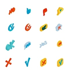 Check mark icons set isometric 3d style vector image