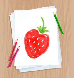 Child drawing of strawberry vector