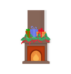 Chimney with presents on top fireplace isolated vector
