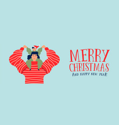 christmas and new year banner mom with son vector image