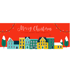 christmas and new year red city houses banner vector image