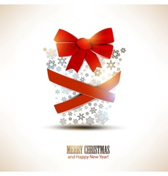 Christmas gift box made from snowflakes Christmas vector image