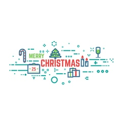 Christmas line background vector image