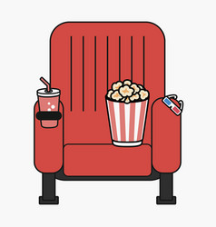Cinema chair with popcorn cup drink and 3d vector