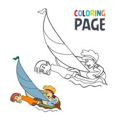 coloring page with sailling people cartoon vector image