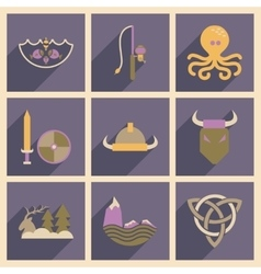 Concept of flat icons with long shadow Norse vector