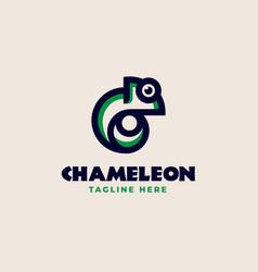 creative chameleon monoline logo template vector image