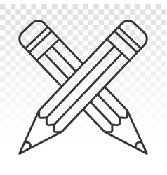 Crossed on pencil icon for apps or website vector