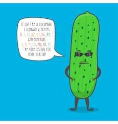 Cucumber cartoon character vector image