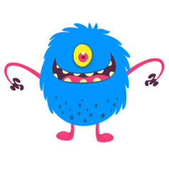 Cute cartoon one eyed monster smiling vector