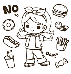 cute girl and junk food doodle vector image