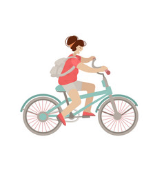 cute girl ride a city bike smiling happy woman on vector image