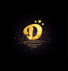 D letter alphabet icon design with golden star vector