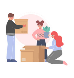 dad mom and their daughter packing boxes in room vector image