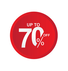 Discount label up to 70 off template design vector