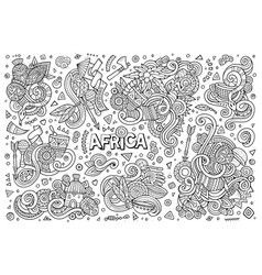 Doodle cartoon set of africa designs vector