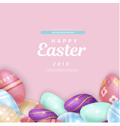 easter writing over heap of eggs vector image