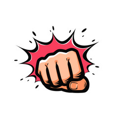 fist punching in pop-art style vector image