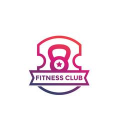 Fitness club gym logo emblem on white vector