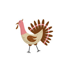 flat funny turkey domestic bird icon vector image