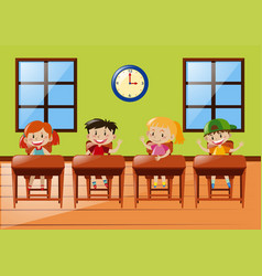 Four students sitting in classroom vector