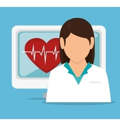 girl doctor computer pulse heart vector image