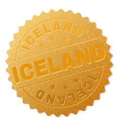 Gold iceland badge stamp vector