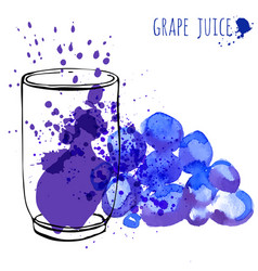 grape juice in glass and grapevine vector image
