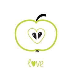 Green apple with heart shape Love card vector