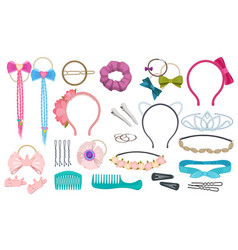 Hair accessories woman fashion clips bows vector