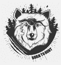 hand-drawn a wolf head vector image