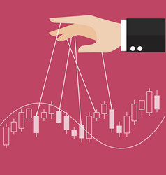 Hand is controlling stock candle stick graph vector