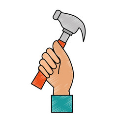 Hand worker with hammer tool isolated icon vector
