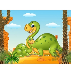 Happy mother with baby dinosaur in prehistoric vector image