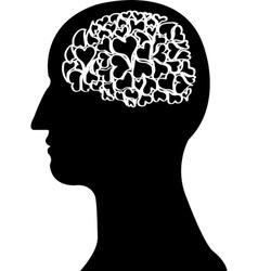 Heart brain in black colour vector