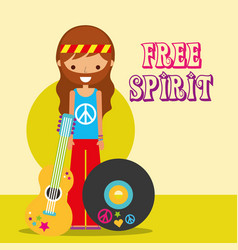 Hippie man with guitar musical vinyl disc free vector