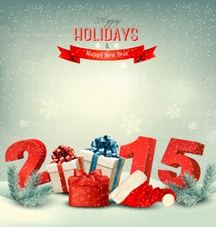 Holiday background with presents and a 2015 vector