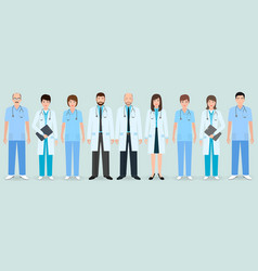 hospital staff group of nine men and women vector image