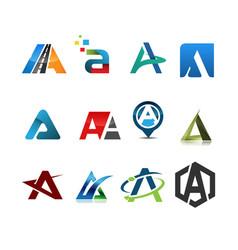 initial letter a logo set vector image