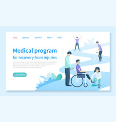 Injury recovery medical program web landing page vector