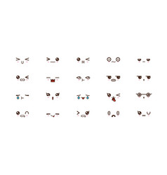 kawaii cute faces smile emoticons japanese emoji vector image