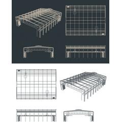 Large industrial hangar drawings vector
