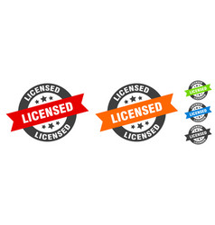 licensed stamp round ribbon sticker tag vector image